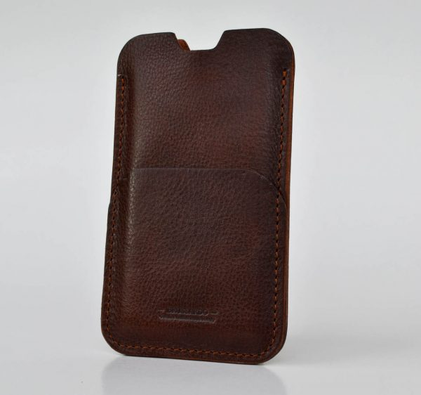 iPhone 11 pro case. Simple style. Dark Brown colour. Leather pouch case for iPhone XR. Sleeve design