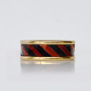 Gold plated wedding ring made of tungsten and leather