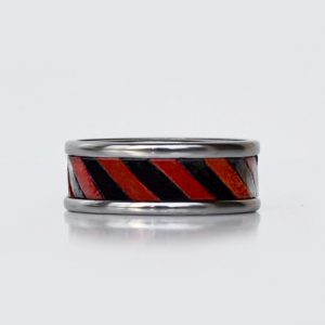 black and red wedding ring- tungsten carbide