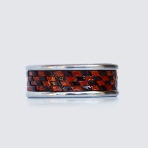 Leather tungsten carbide wedding ring