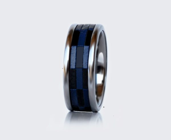 tungsten ring with leather
